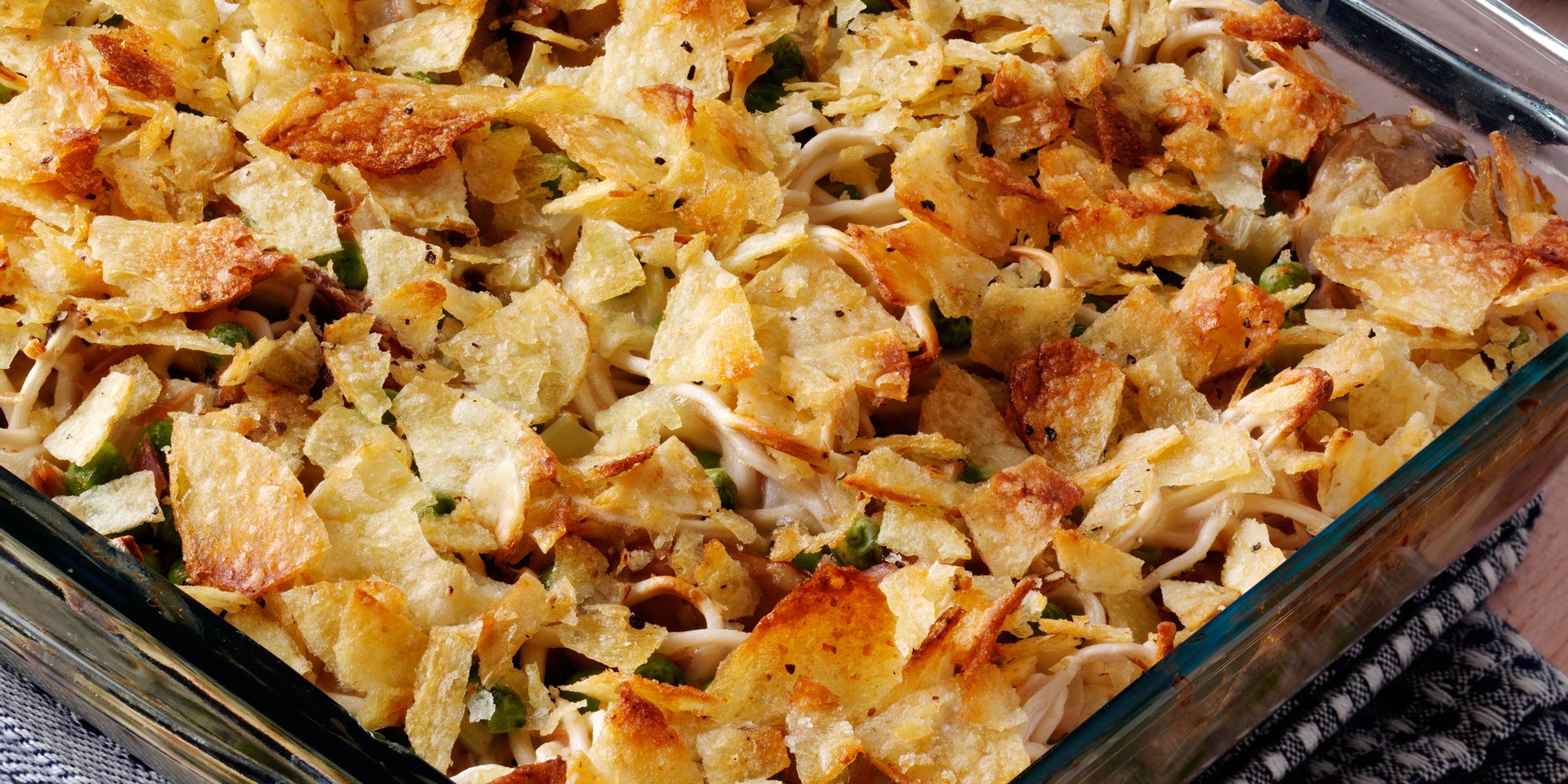 Valerie Bertinelli tops a classic tuna noodle casserole with potato chips