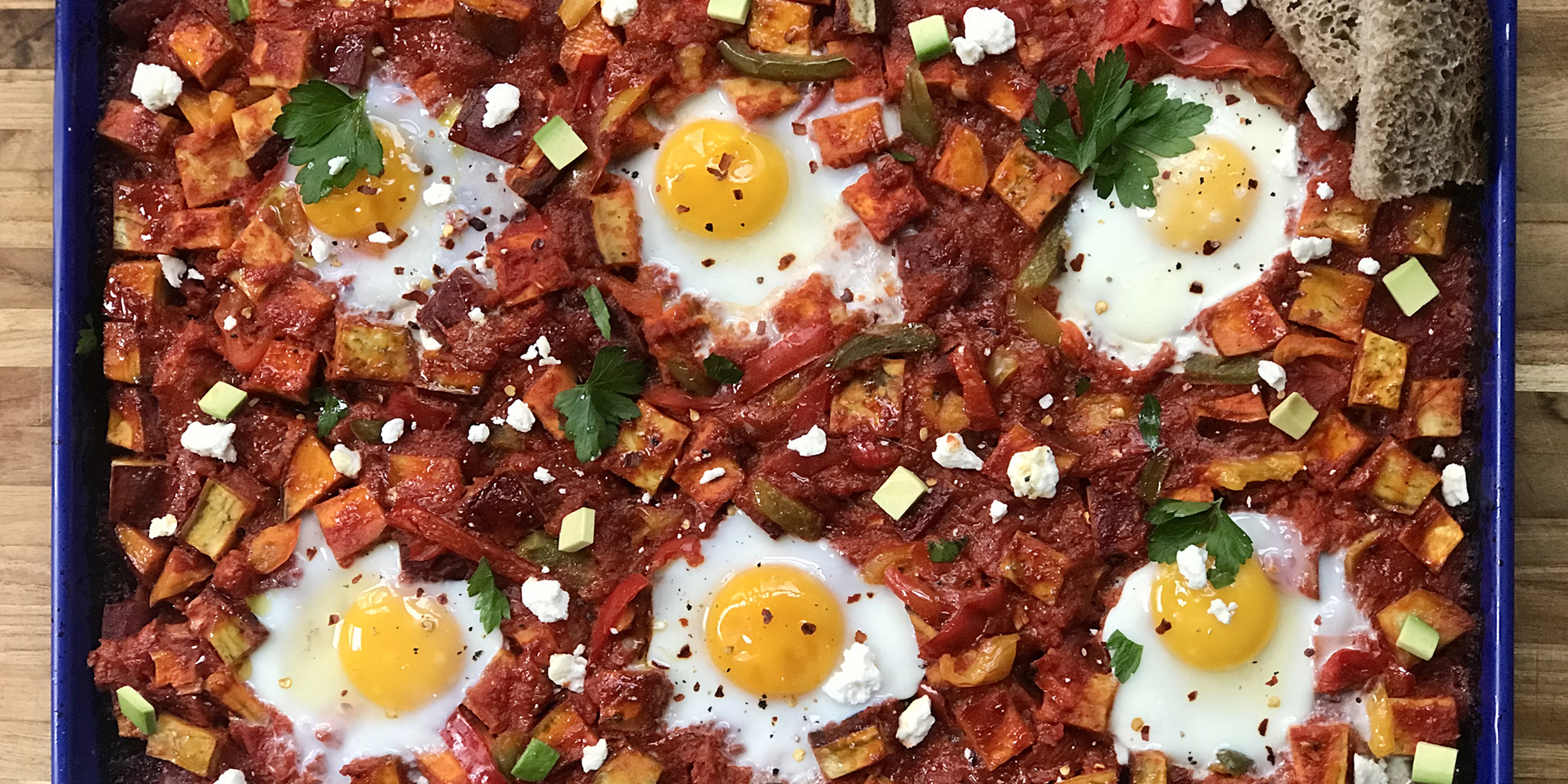 Make spicy sheet pan shakshuka to feed a crowd with minimal fuss