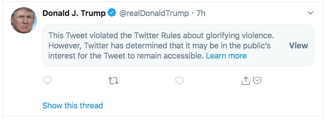 Twitter Places Warning On Trump Post Saying Tweet Glorifies Violence
