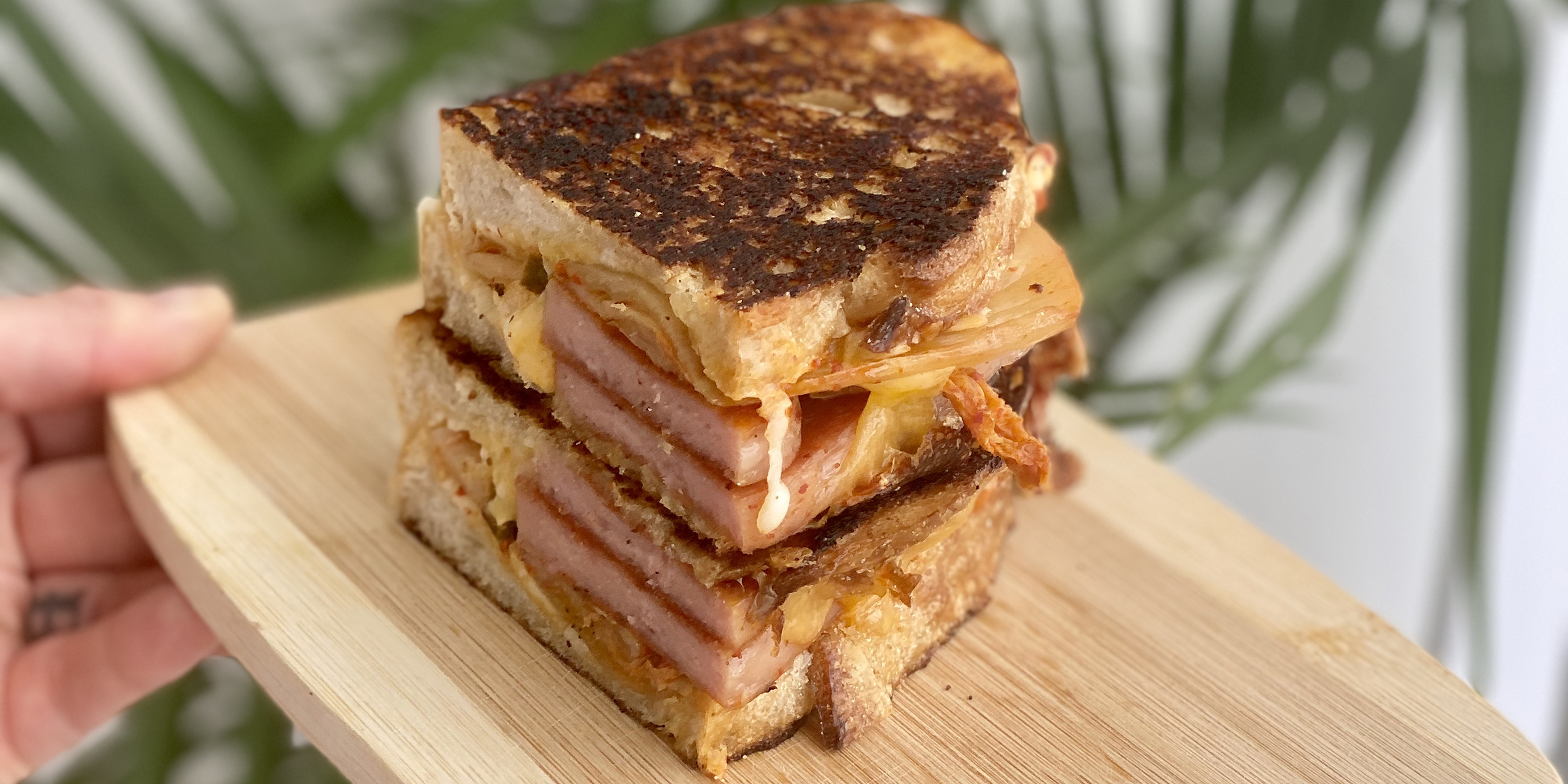 Level up grilled cheese sandwiches with kimchi and Spam