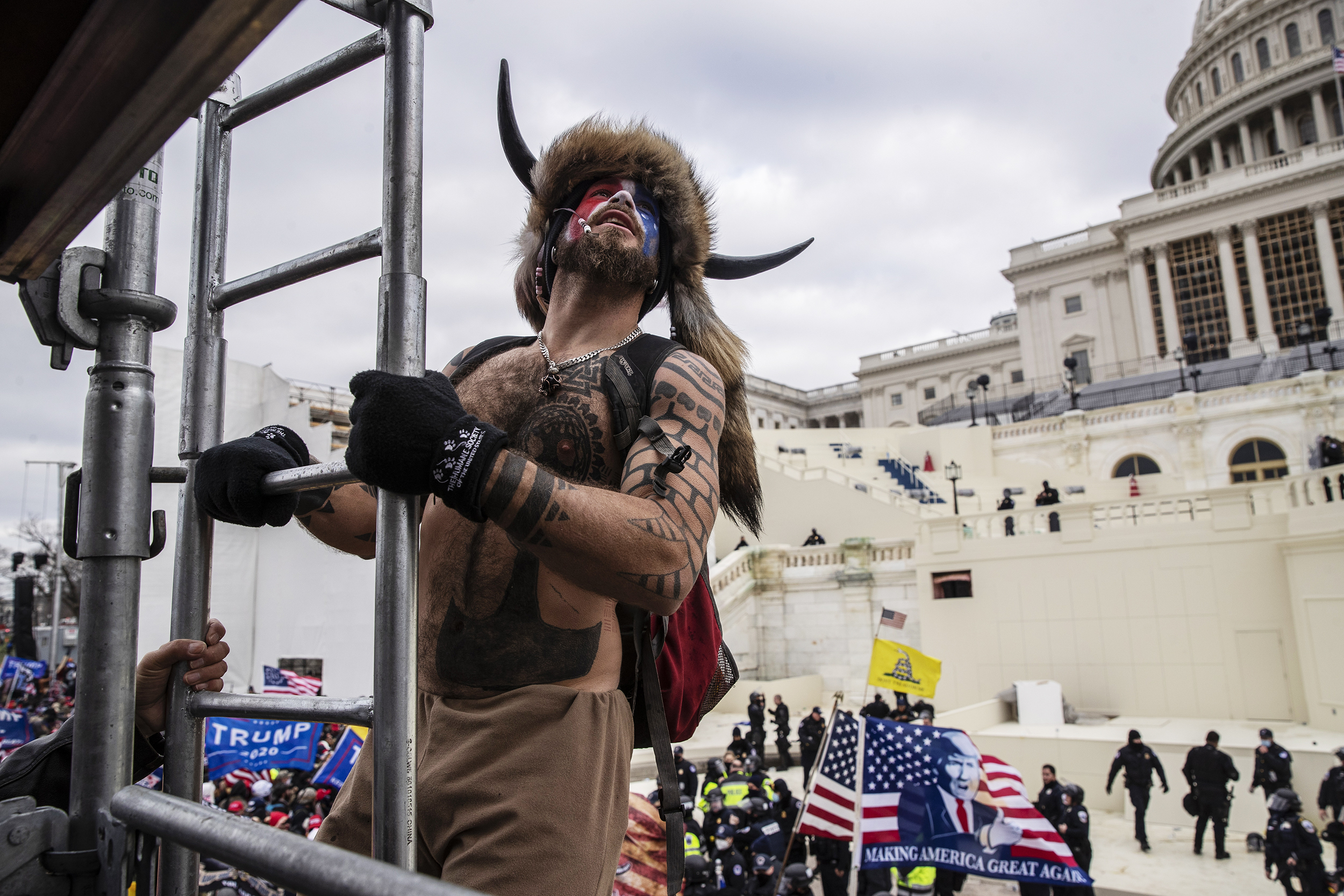 Capitol-rioters-like-the-'QAnon-Shaman'-looked-ridiculous.-That-was-by-design.