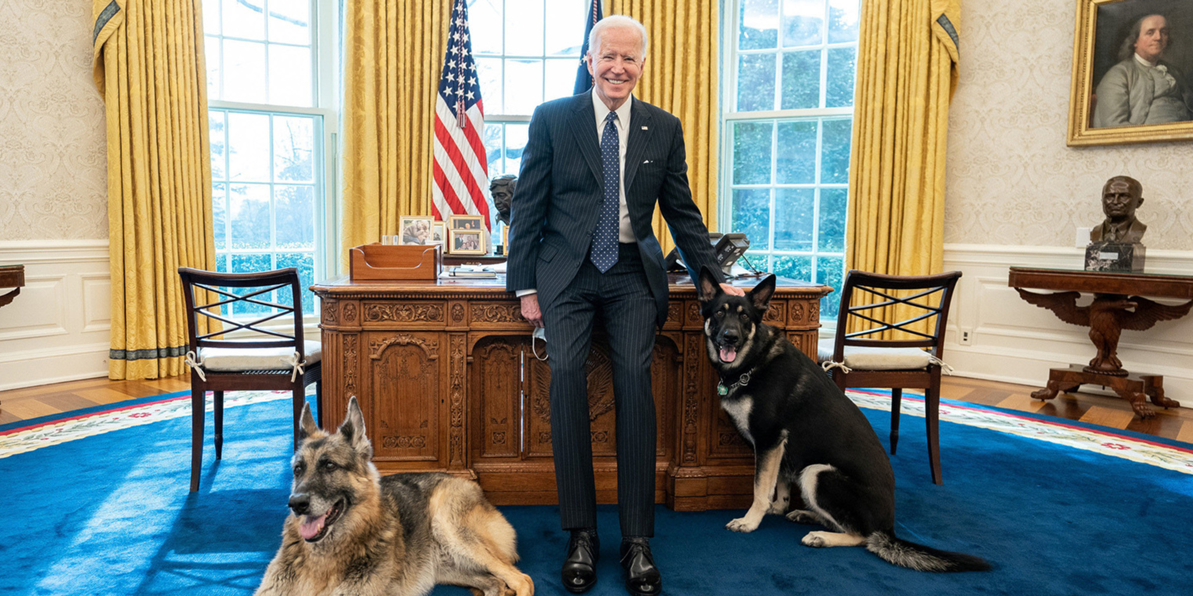 President Joe Biden poses with his dogs in the Oval Office