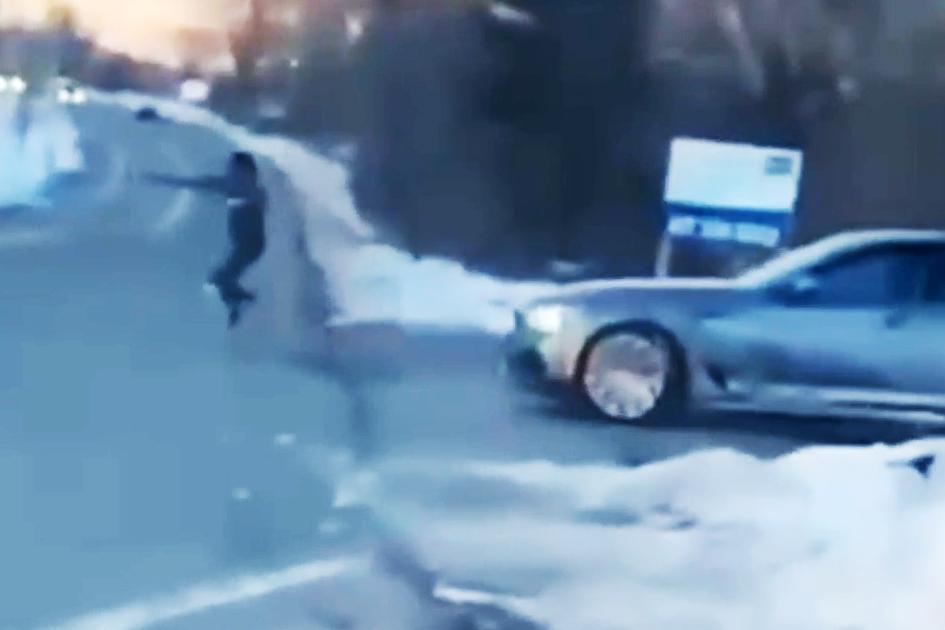 Dramatic-video-shows-car-being-rammed,-roadside-shooting-near-Boston
