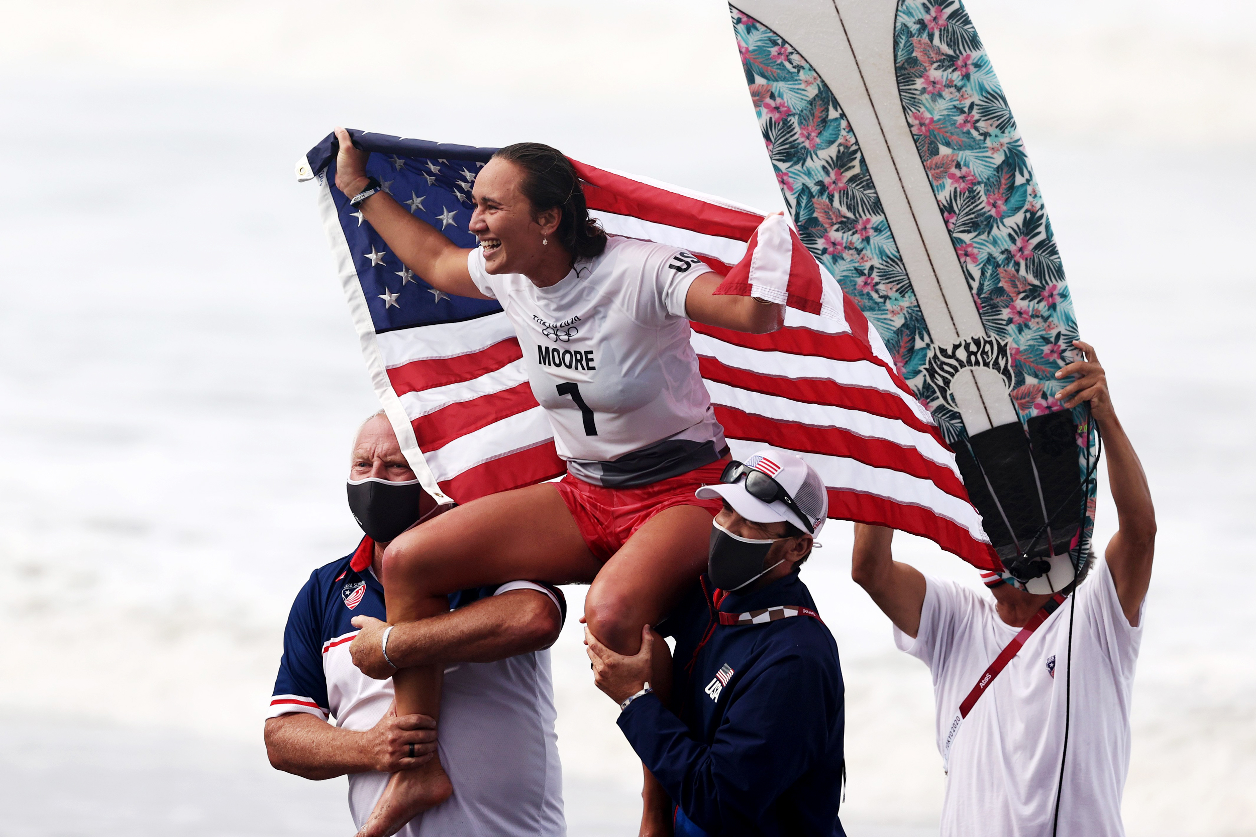 American Carissa Moore makes history by winning surfing gold
