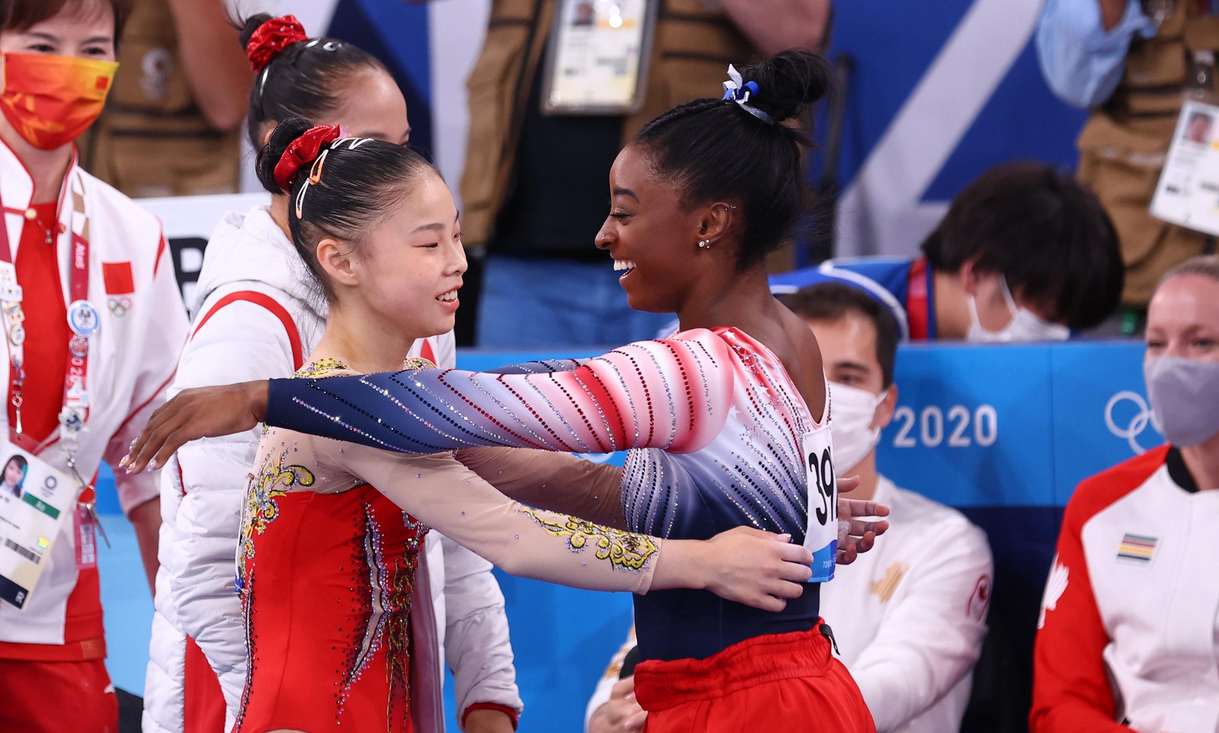 U.S.-China Olympic solidarity warms hearts after gymnastics final