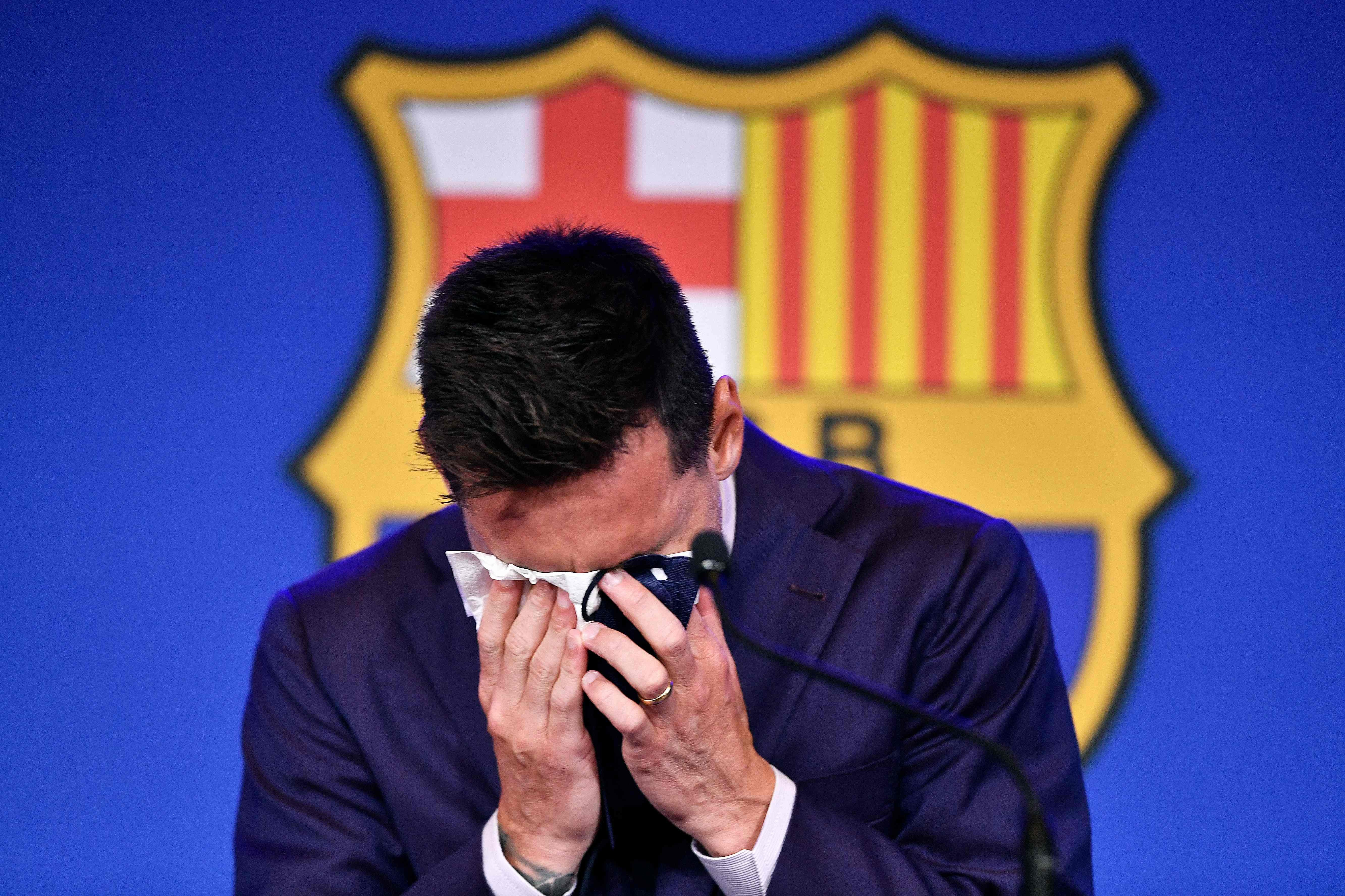 'I'm not ready for this': Tearful soccer icon Messi confirms bitter Barcelona exit