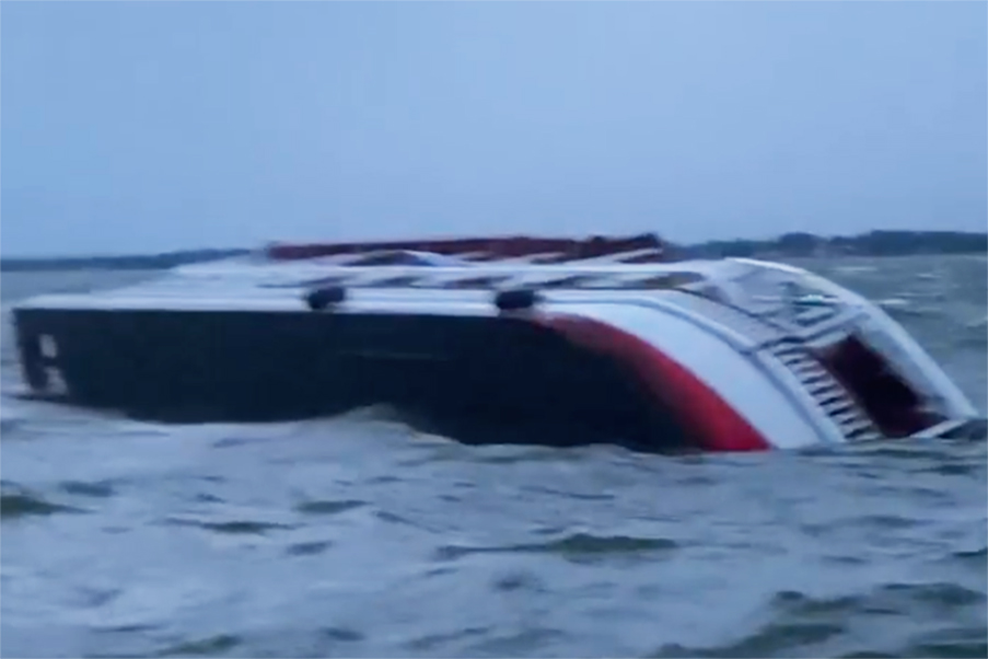 Texas party boat with 53 passengers capsizes, leaving one dead