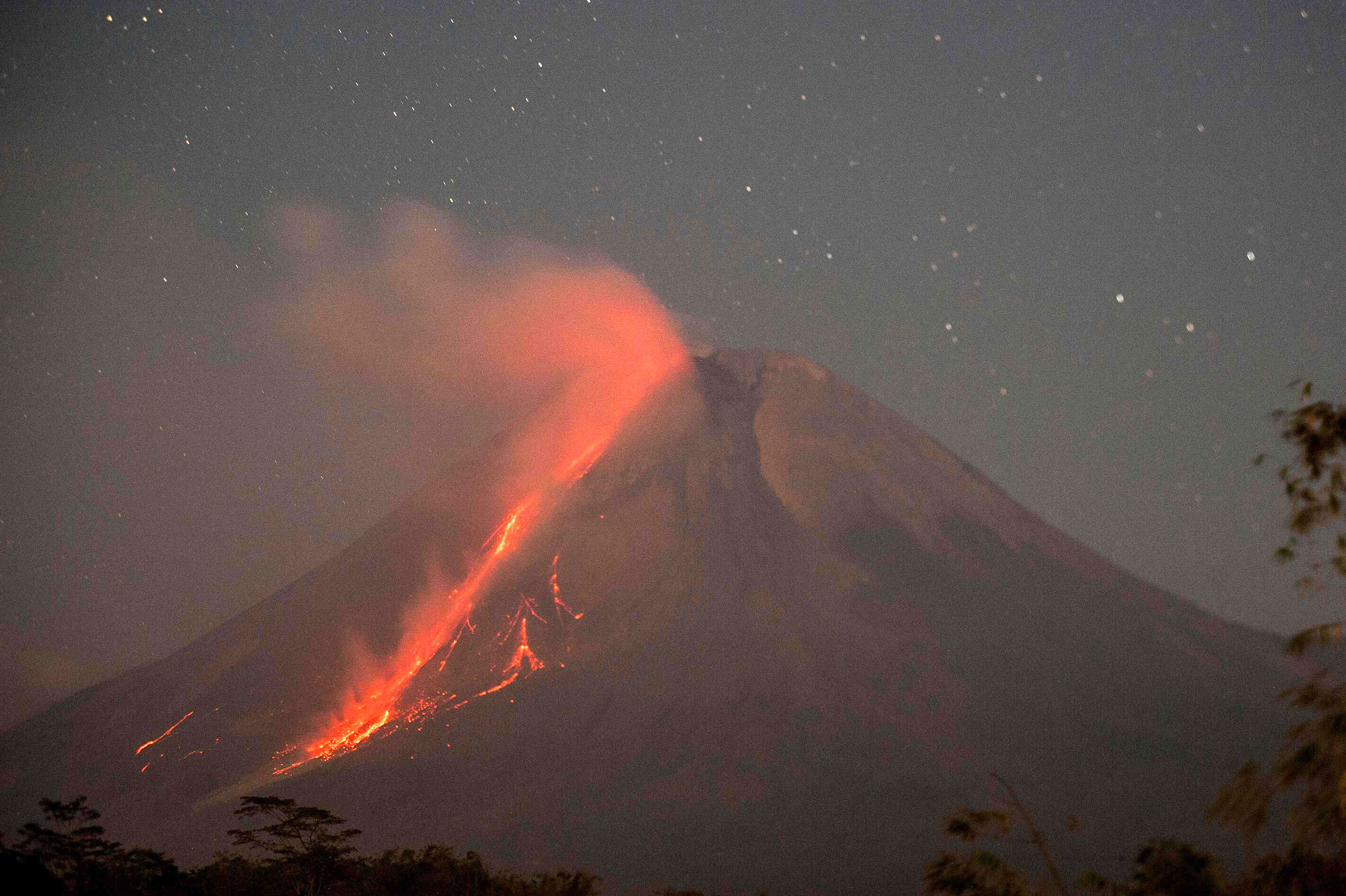 Lava streams from Indonesia's Mount Merapi in new eruption