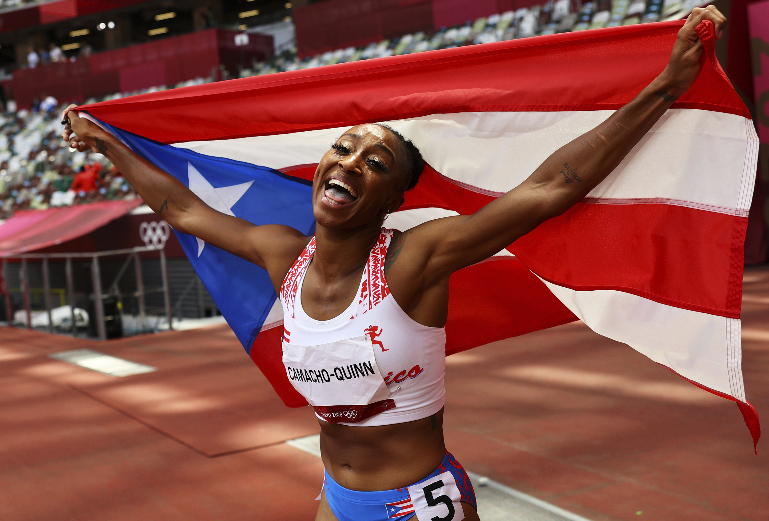 Puerto Rico celebrates Olympic gold with Camacho-Quinn in women's 100m hurdles