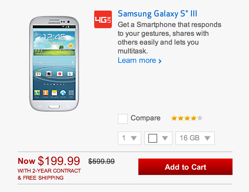 Samsung Galaxy S III on Verizon