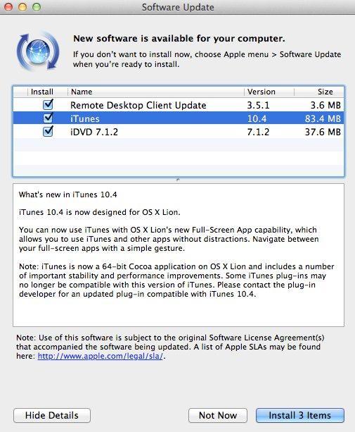 Got Mac Os X Lion Dont Forget To Update Itunes