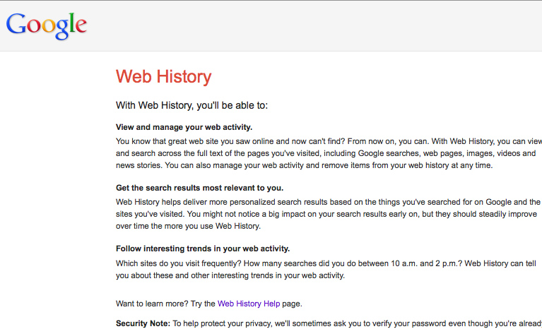 Google Web history page