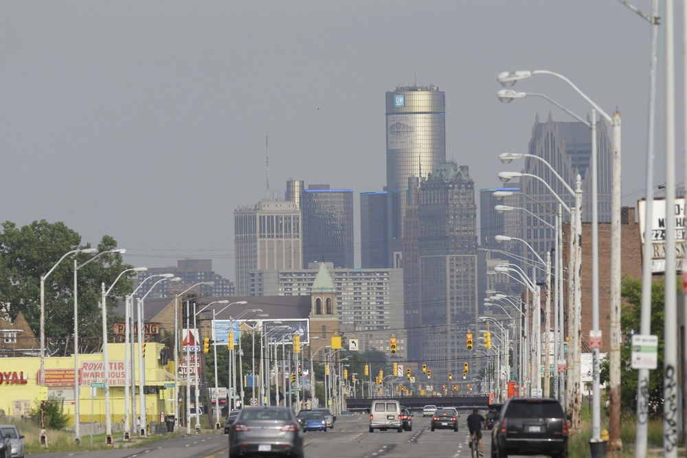 The Detroit skyline is seen from Grand River on Thursday, July 18, 2013.
