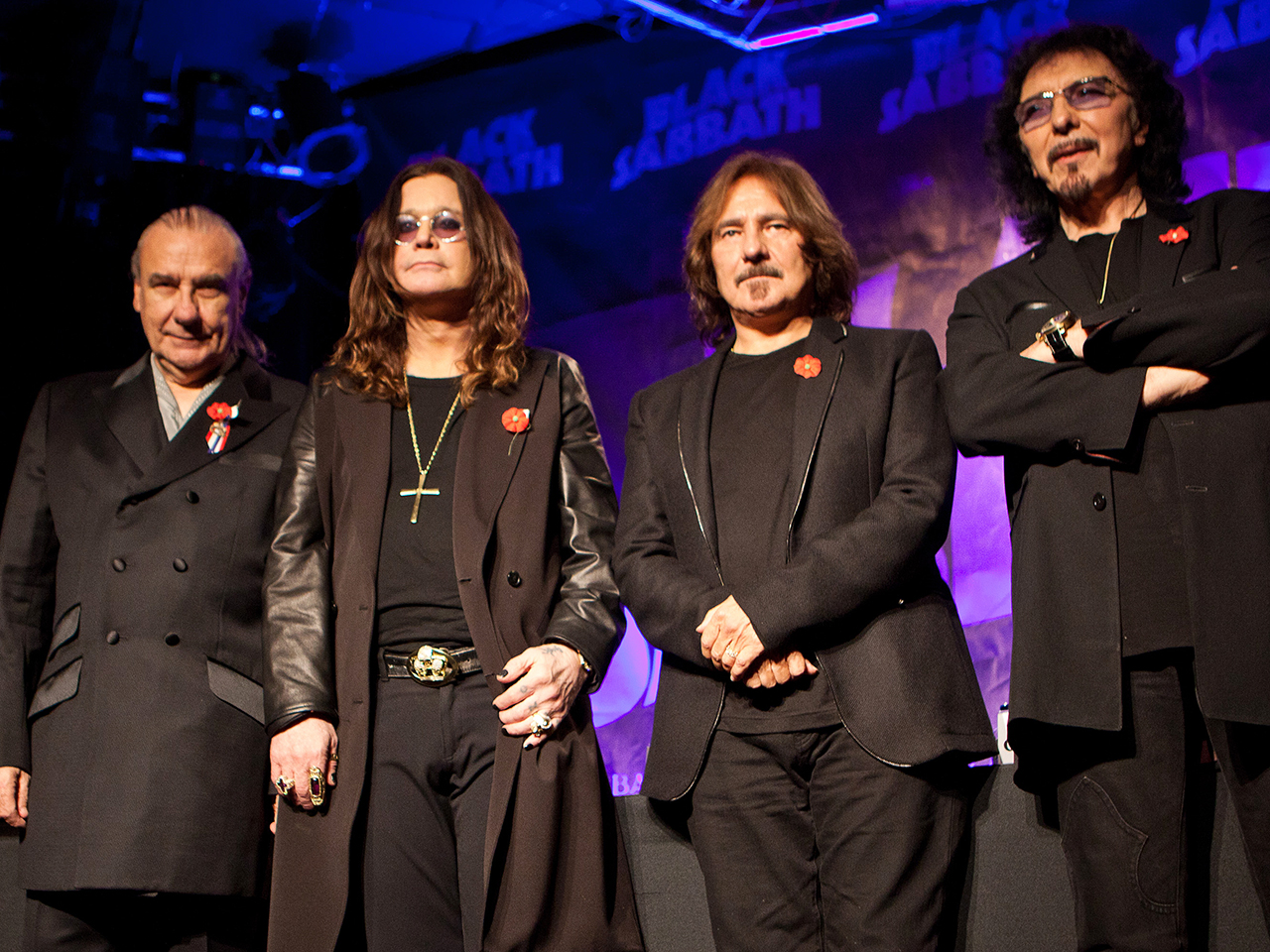 Bill Ward, Ozzy Osbourne, Geezer Butler and Tony Iommi at the Black Sabbath Reunion Press Conference in 2011.