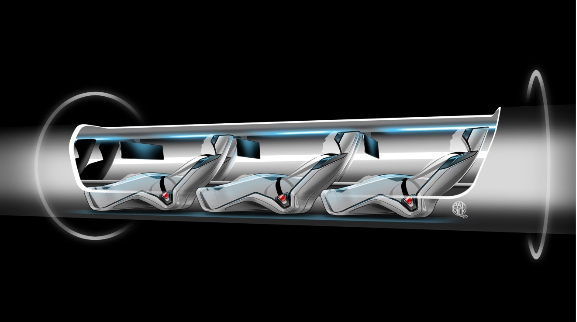 Hyperloop passenger capsule version cutaway with passengers onboard.