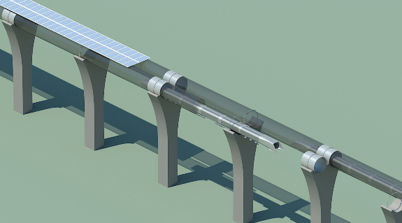 Hyperloop capsule in tube cutaway wit