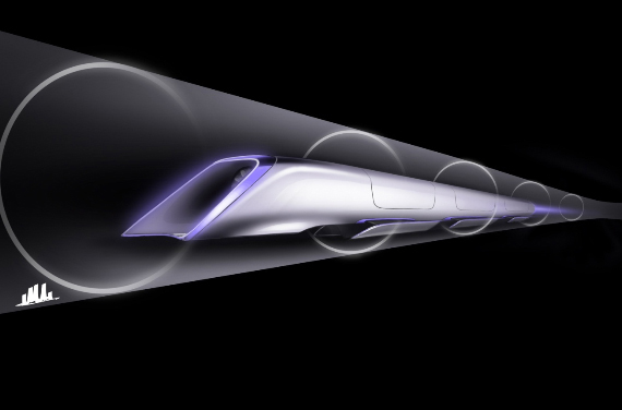 Hyperloop passenger transport capsule conceptual design rendering.