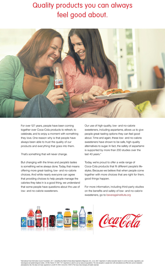 A Coca-Cola ad featured in Atlanta area issues of USA TODAY.