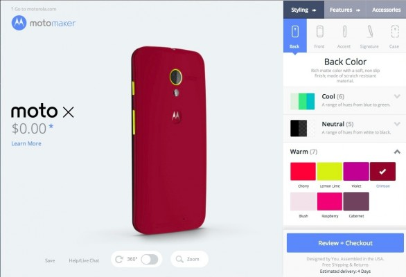 Choosing a back color for the Moto X.