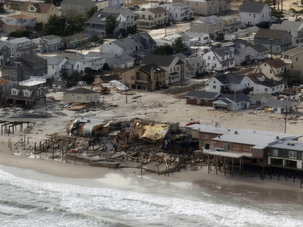 An aerial view of the storm damage over the Atlantic Coast is seen in the aftermath of Hurricane Sandy in Seaside Heights, New Jersey October 31, 2012...