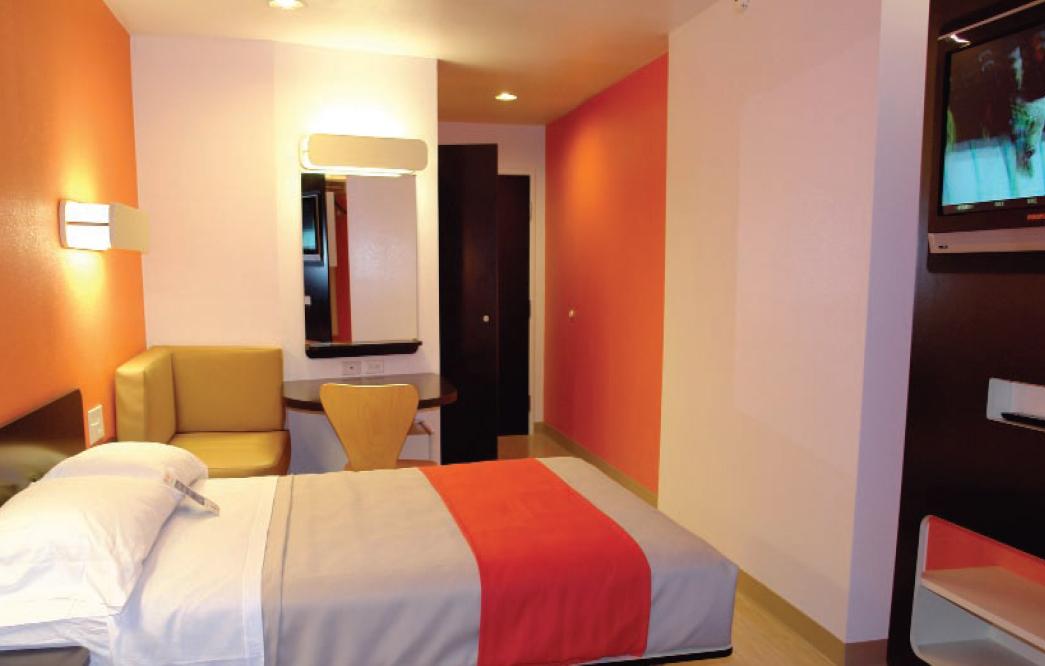 A room at a Motel 6 location.