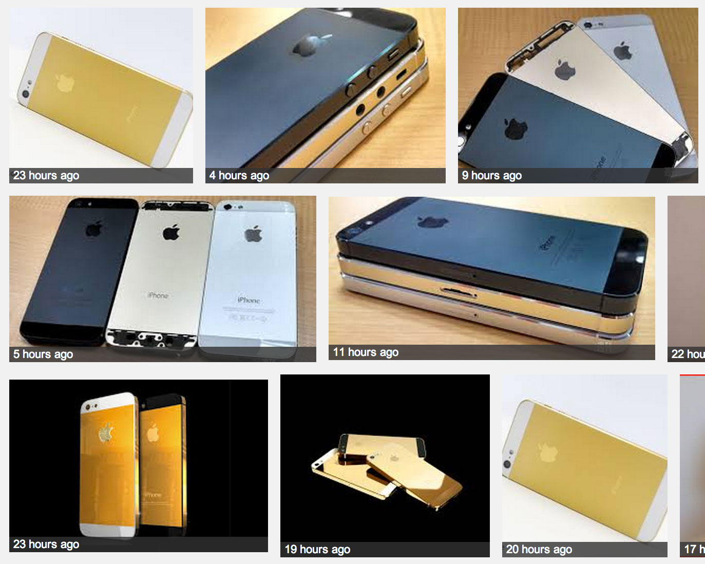 Photos shown in Web search for gold iPhone