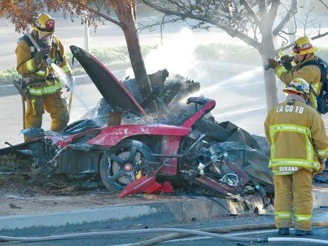 Image: Scene of crash which killed actor Paul Walker