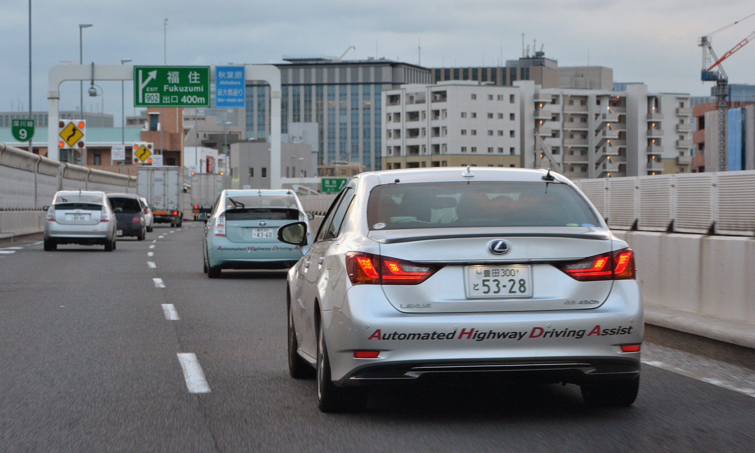 This photo taken on October 10, 2013 shows Japanese auto giant Toyota Motor demonstrating the advanced driving support system
