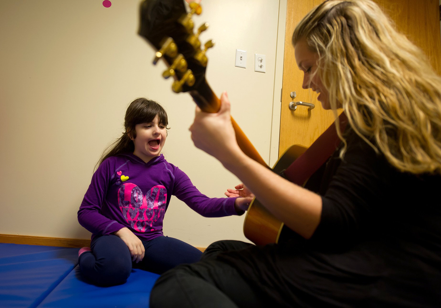 Bari Mogul. 9, works with therapists at The Children's Institute in Pittsburgh, Pennsylvania where Bari and her sister, Hayley, 15, are undergoing extensive therapy to help with their genetic disorders.