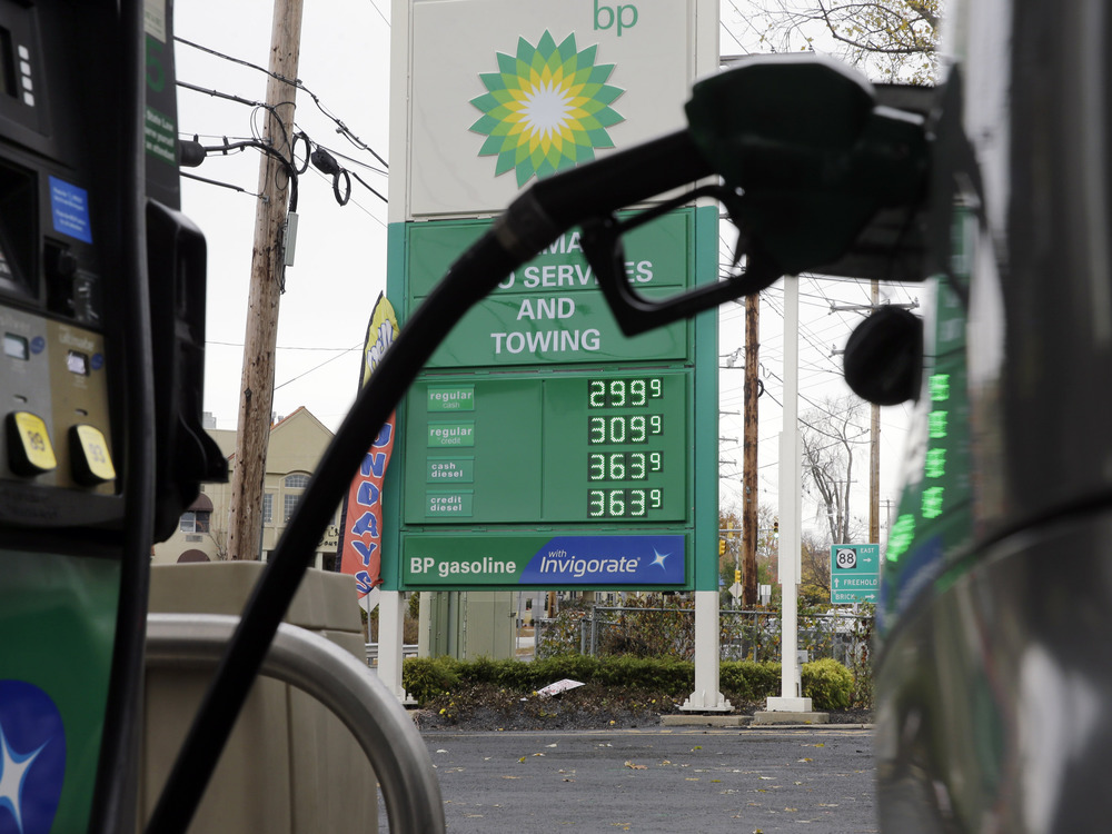 A sign at a BP filling station says regular gas is $2.99, per gallon in Lakewood, N.J., Tuesday, Nov. 12, 2013. Prices for regular gas at several gas ...