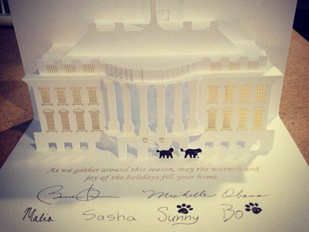 White House Christmas card stars dogs Bo and Sunny