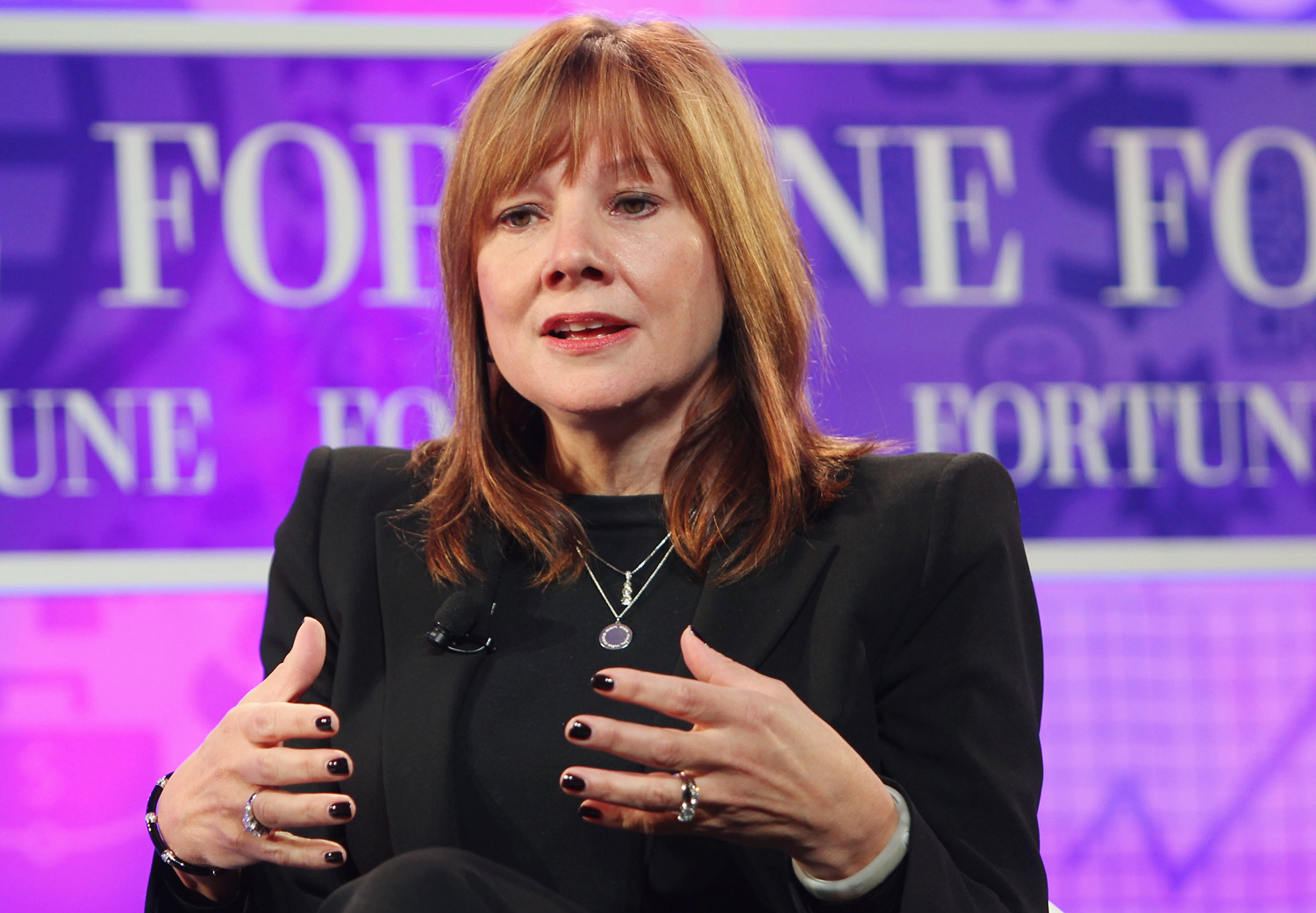 WASHINGTON, DC - OCTOBER 16:  Senior Vice President of Global Market Development of General Motors Mary Barra speaks onstage at the FORTUNE Most Power...