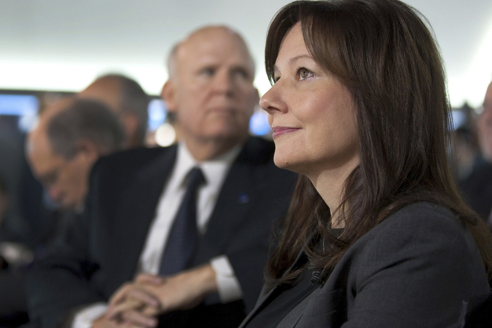 General Motors Executive Vice President, Global Product Development & Global Purchasing & Supply Chain Mary Barra (R) is pictured with Chairman and CE...