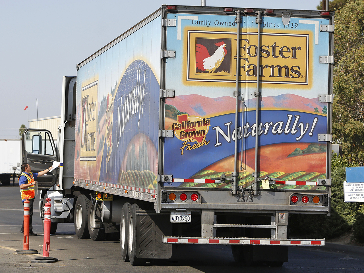 A truck enters the Foster Farms processing plant on Thursday, Oct. 10, 2013, in Livingston, Calif. The plant is one of three California poultry proces...