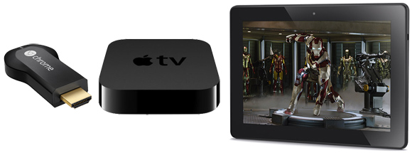 IMAGE: Chromecast, Apple TV, Kindle Fire HDX