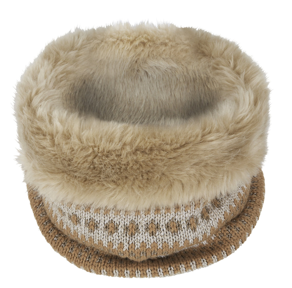 "This undated image provided by Banana Republic shows Banana Republic's Fair Isle Faux-Fur Neckwarmer. From faux fur coats to ""vegan leather"" accents, ..."