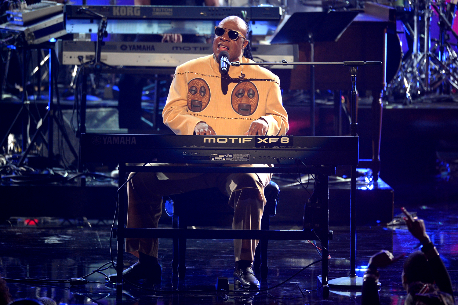 LOS ANGELES, CA - JUNE 30:  Recording artist Stevie Wonder performs onstage during the 2013 BET Awards at Nokia Theatre L.A. Live on June 30, 2013 in ...