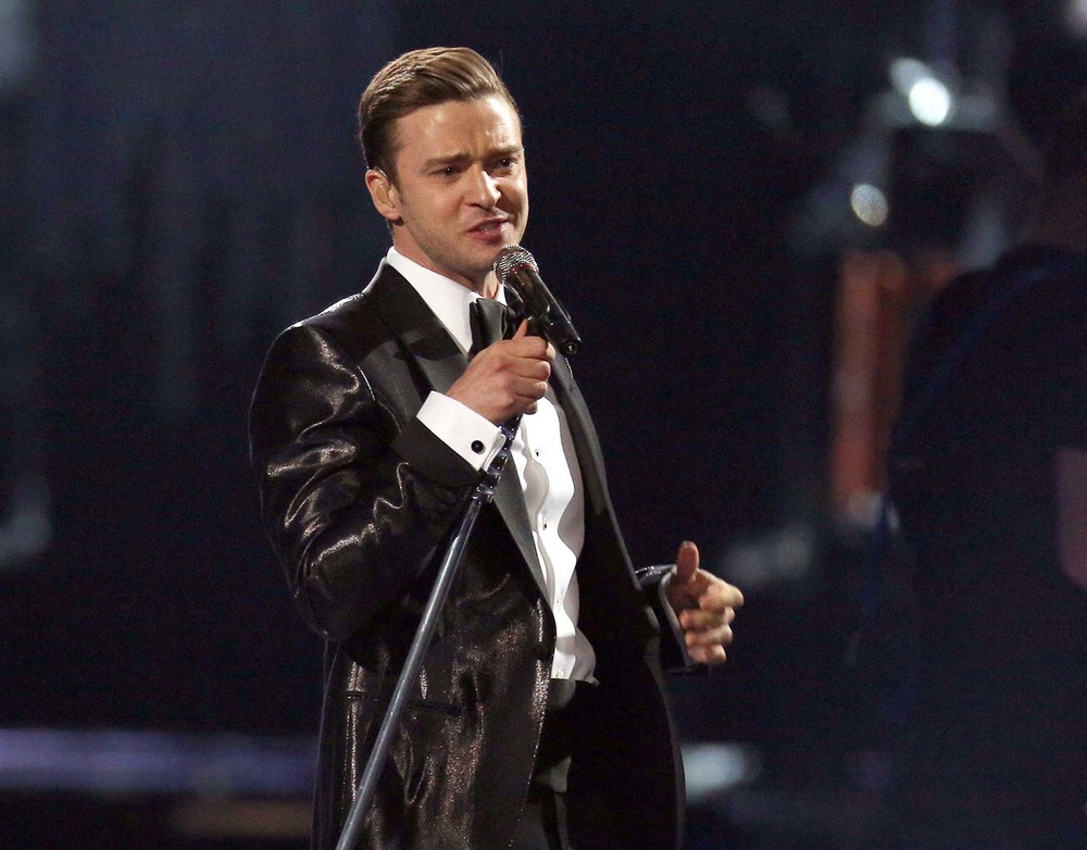 FILE - This Feb. 20, 2013 file photo shows Justin Timberlake during the BRIT Awards 2013 in London. Timberlake's