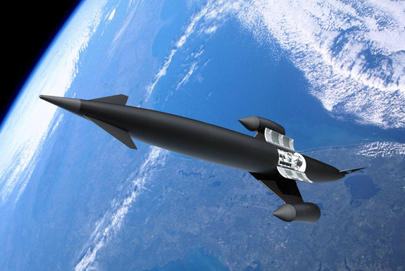 The SKYLON concept vehicle consists of a slender fuselage containing propellant tankage and payload bay, with delta wings attached midway along the fuselage carrying the SABRE engines in axisymmetric nacelles on the wingtips. The vehicle takes off and lands horizontally on its own undercarriage.