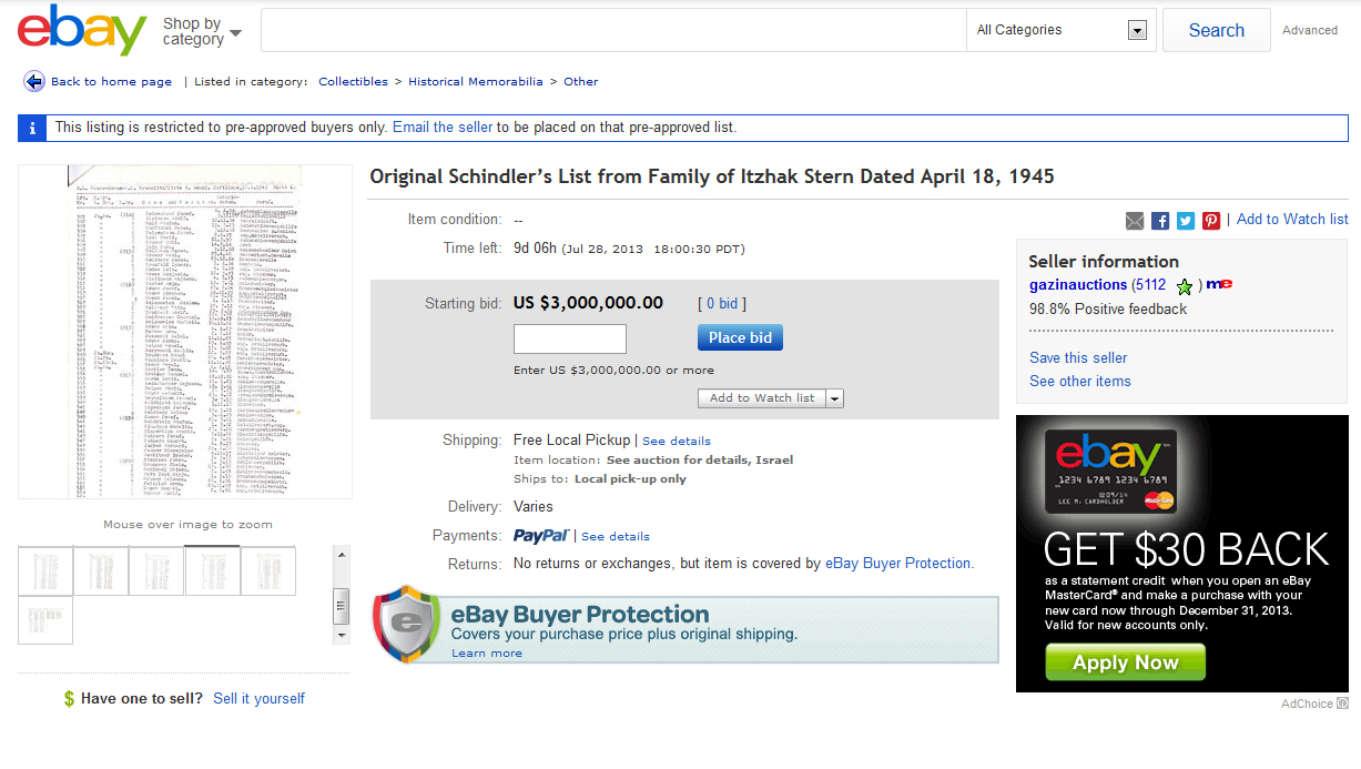 Schindler S List Up For Auction On Ebay For 3 Million
