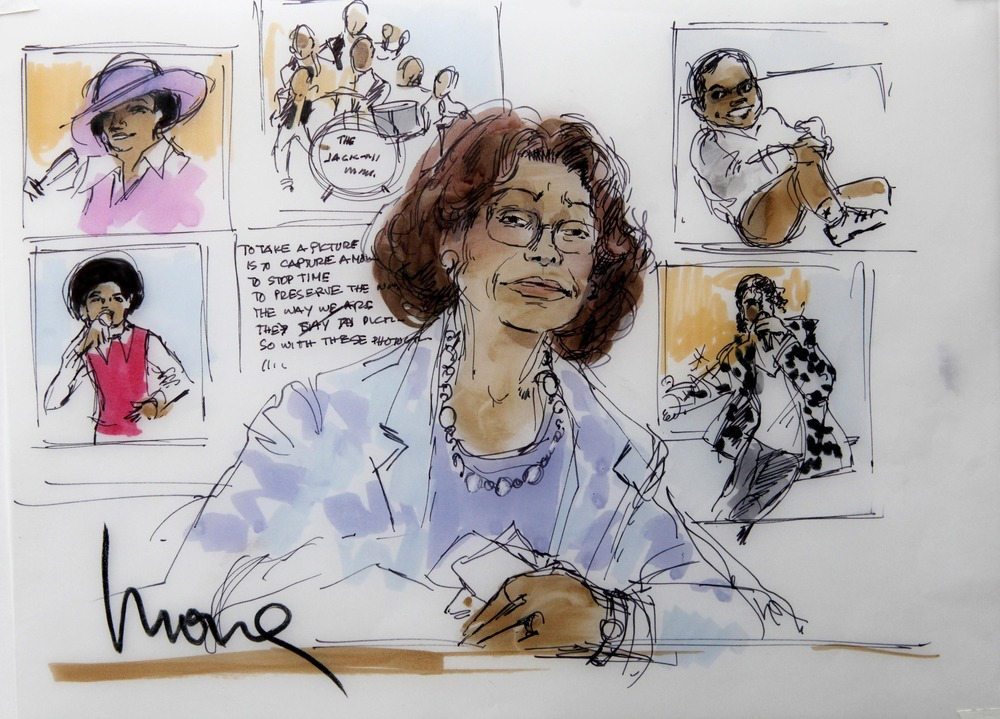 Image: A courtroom sketch of Katherine Jackson