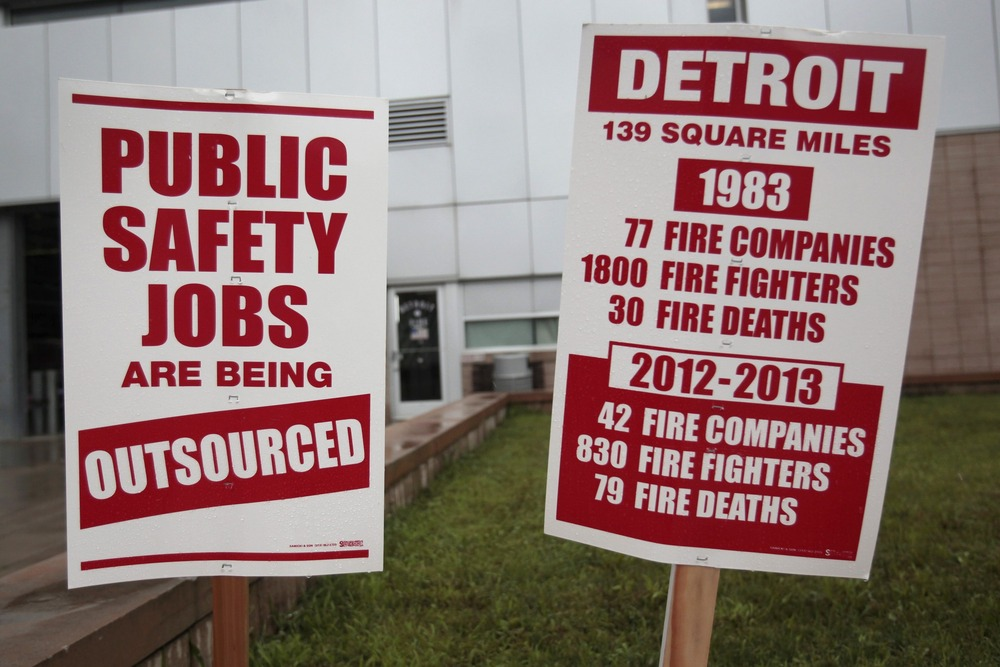 Informational signs are seen in front of a southwest Detroit neighborhood Fire House placed there by Detroit firefighters to inform the public about t...
