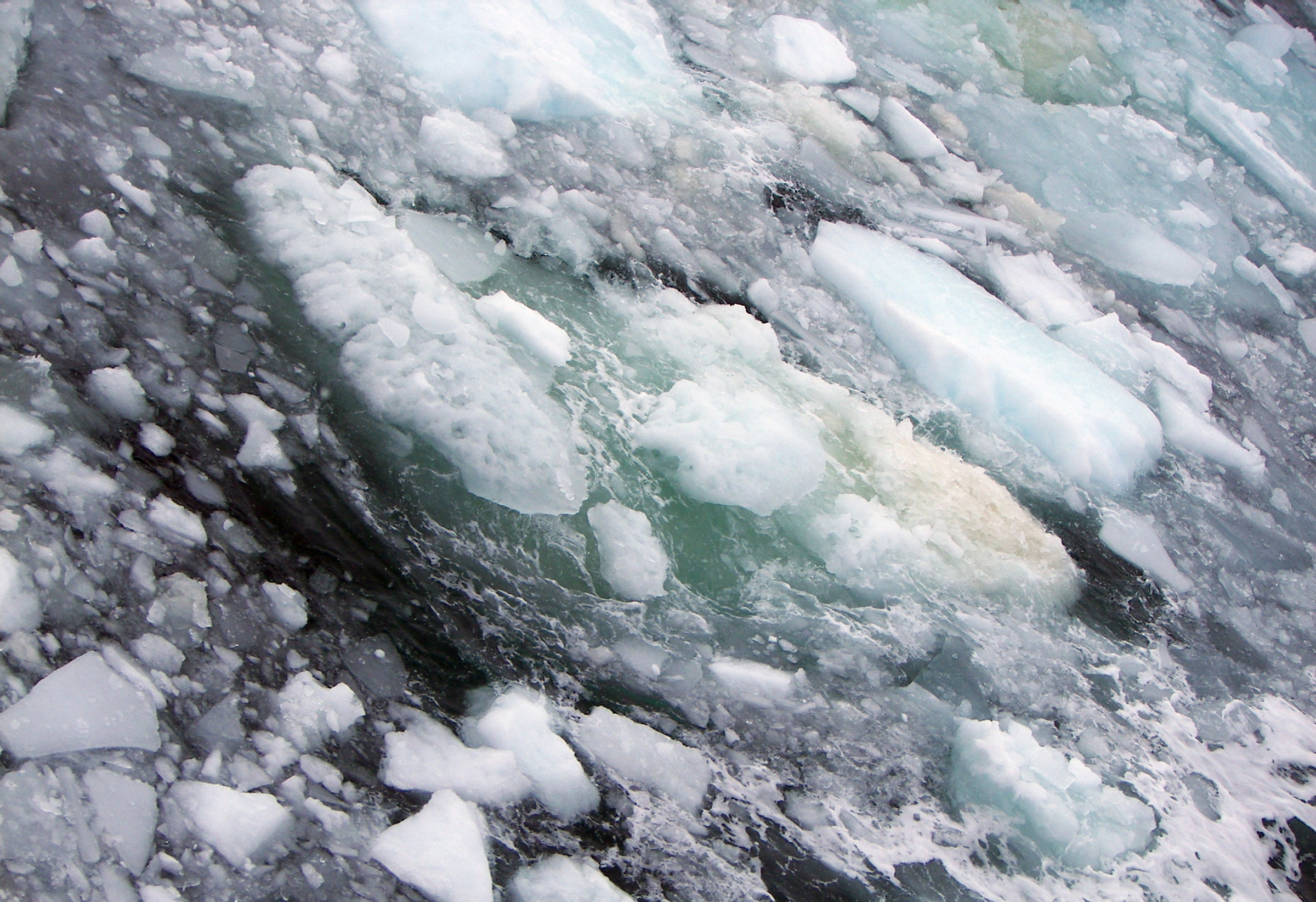 ice, sea water and methane bubbles are a common sight along the East Siberian Arctic Shelf