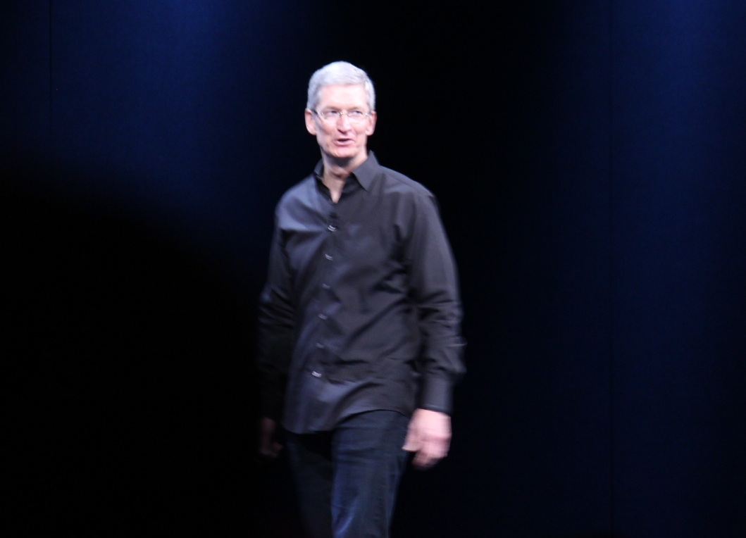 Tim Cook on stage at WWDC 2013.