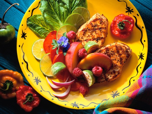 Grilled turkey with Fruit   Food, Multicolored, Plate, Turkey, Meals, Fruit, Grilled, Indoors, Elegance, Food And Drink, Horizontal, Photography, Colo...