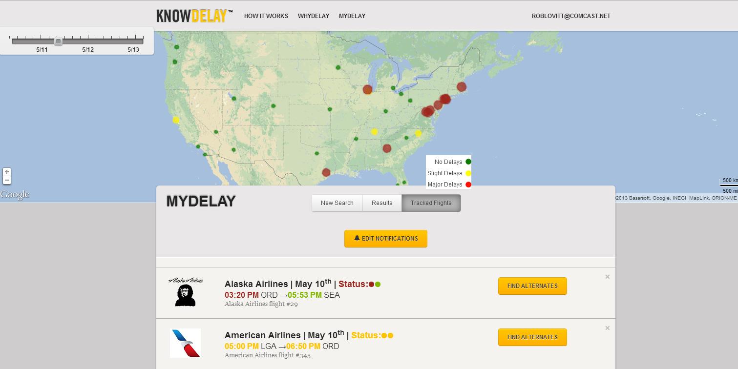 KnowDelay.com, bad weather, flight delays