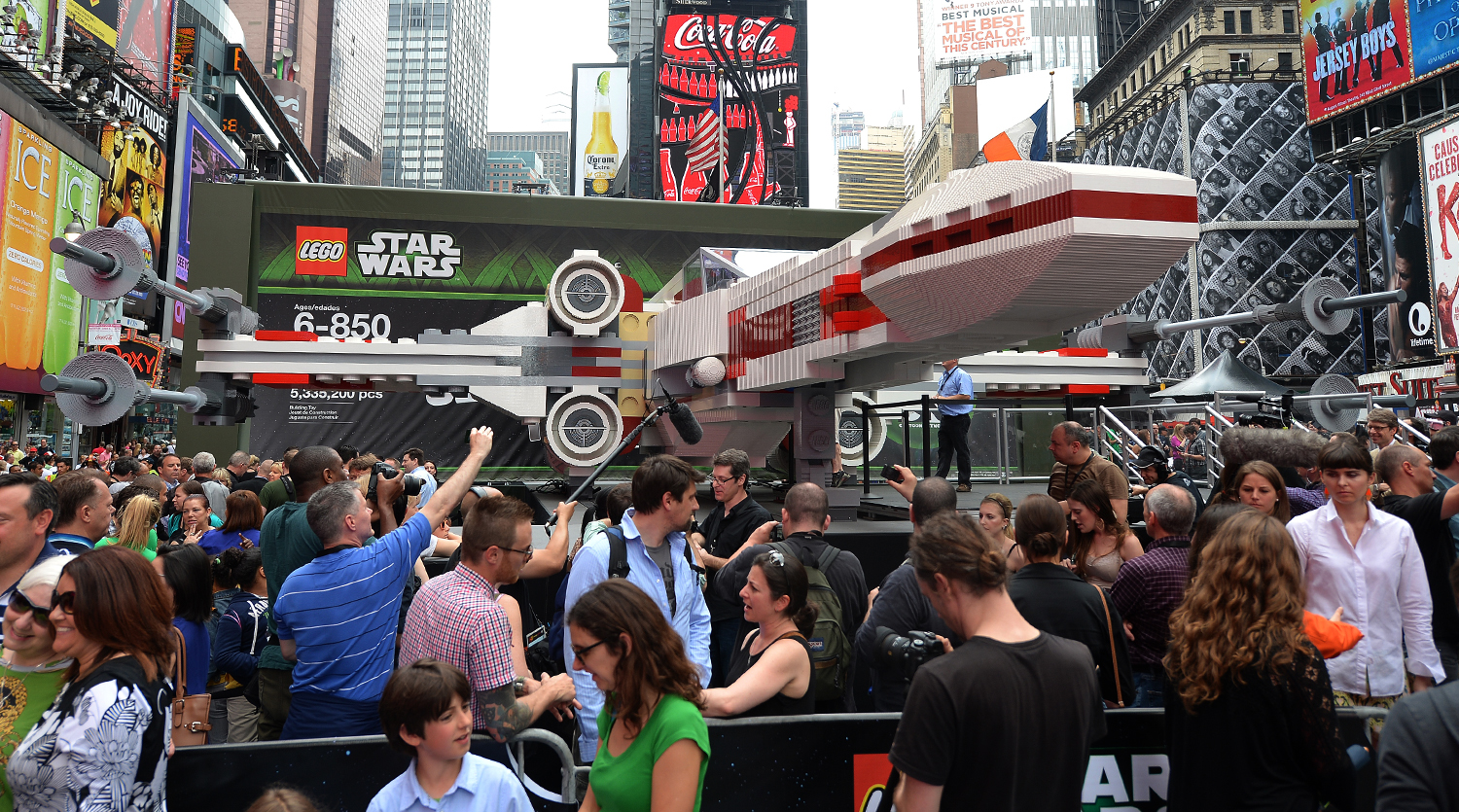 The world's largest LEGO model is on display at Times Square in New York, May 23, 2013. Made of 5,335,200 LEGO bricks and based on the X-wing starfigh...