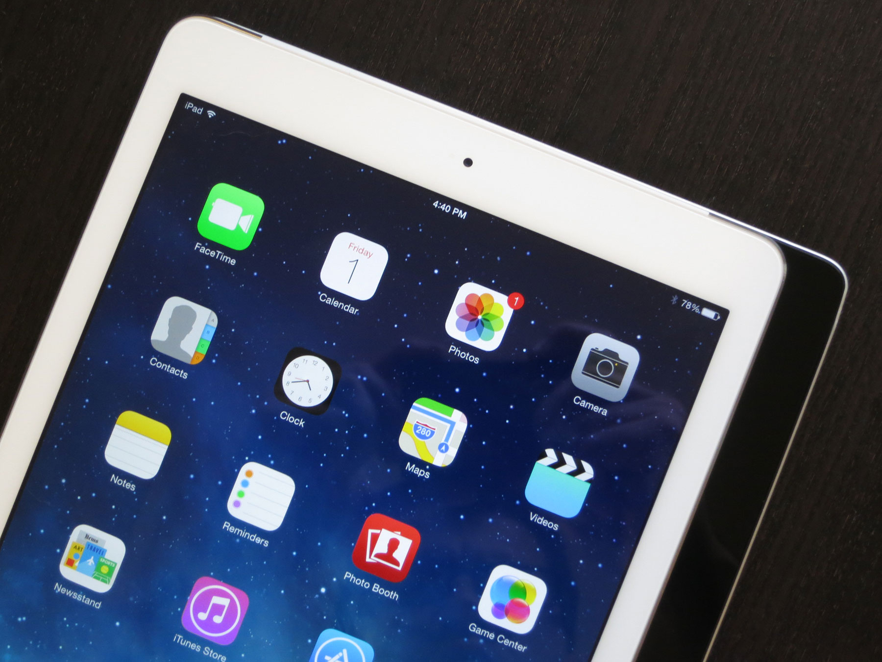 The iPad Air, sitting on top of a fourth-generation iPad