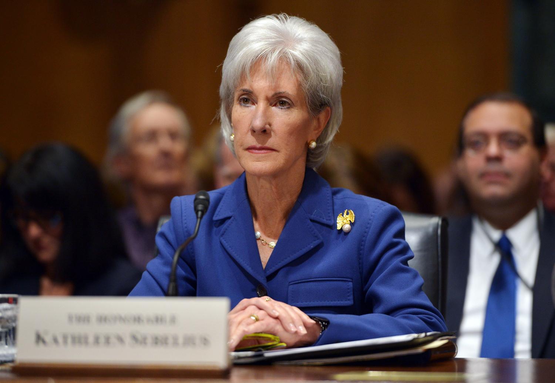 US Health and Human Services Secretary Kathleen Sebelius testifies before the Senate Finance Committee on health insurance exchanges on November 6, 20...
