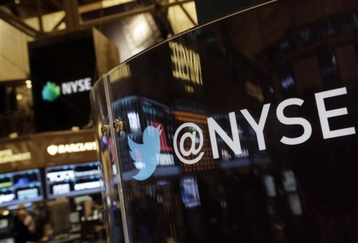 The Twitter bird logo is on an updated phone post on the floor of the New York Stock Exchange on Wednesday.